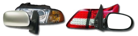 Headlights, tail lights, side-mirrors